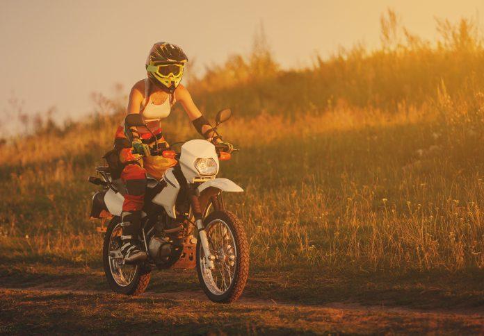 Happy female biker