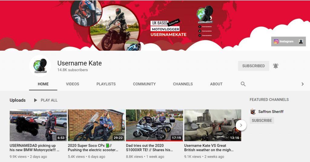 Username Kate - motorcycle vlogger