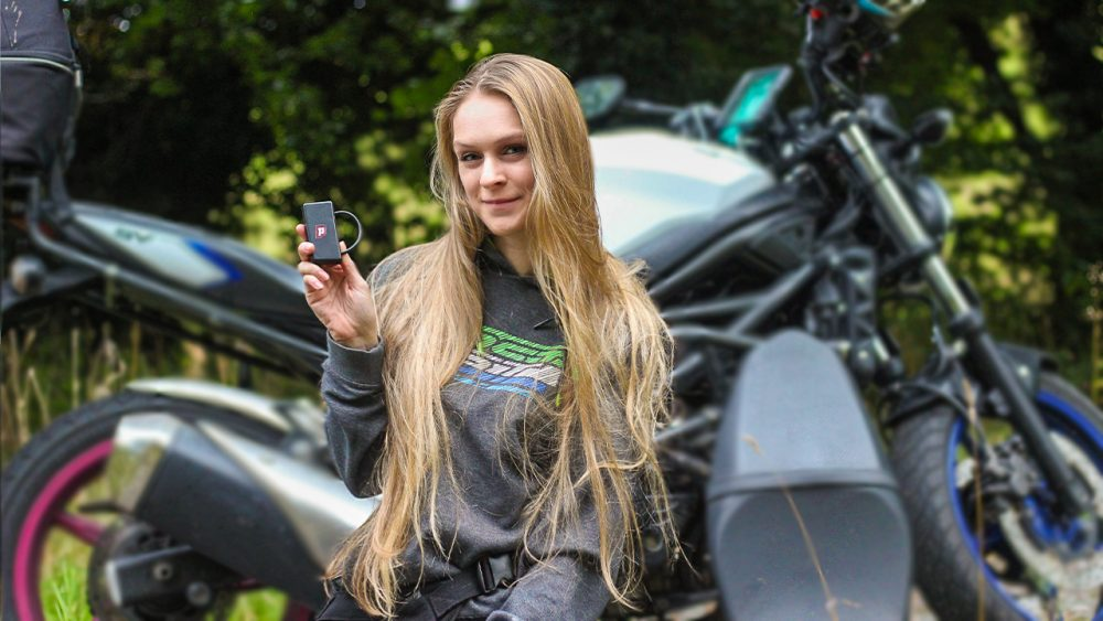 Saffy Sprocket on the Pegase Moto GPS Tracker